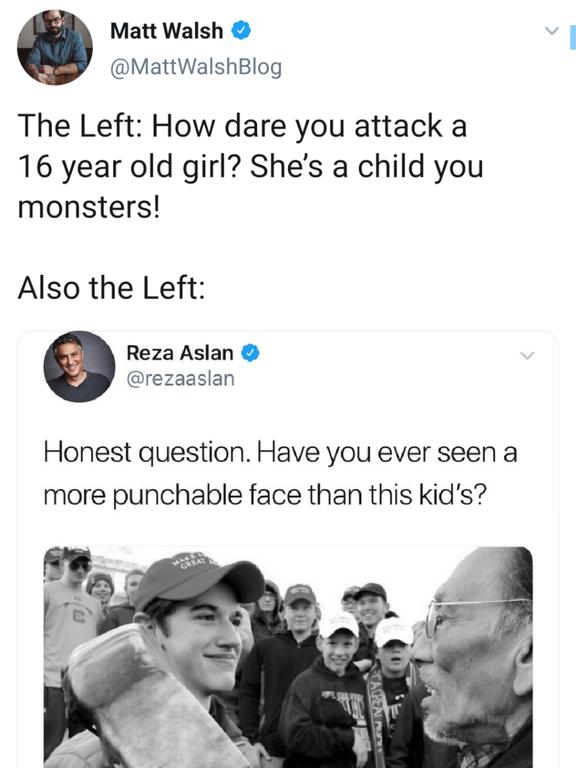 Greta Thunberg meme - Maga hat kid is fair game