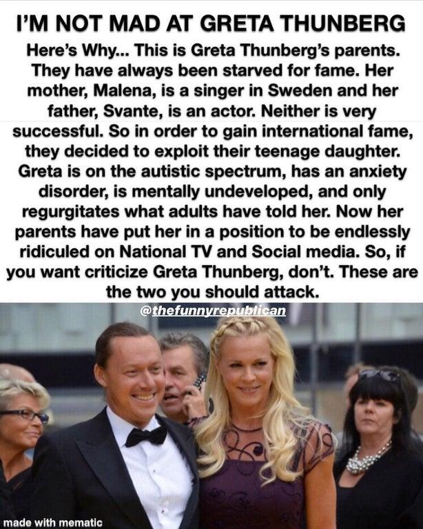 Greta Thunberg meme - Parents are exploiting her