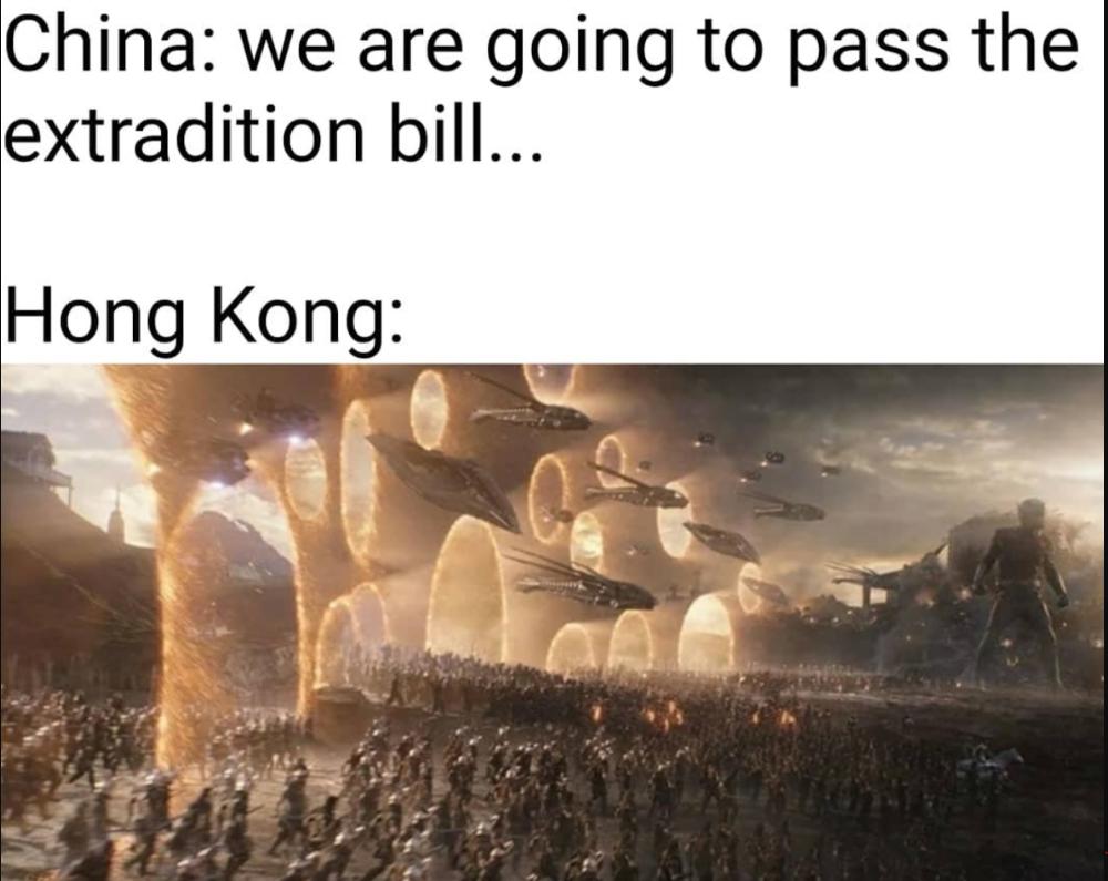 Hong Kong Protesters Assemble Meme