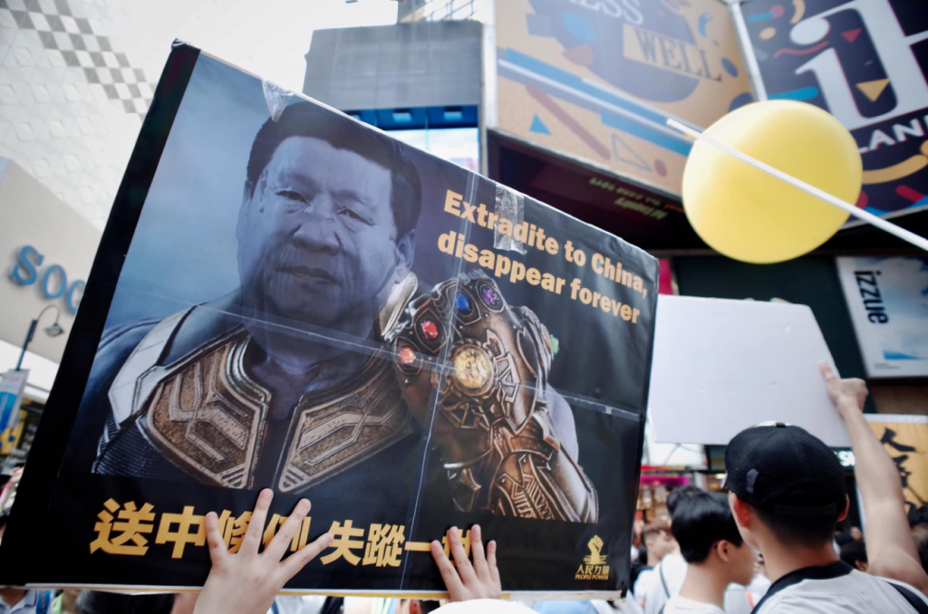 Xi Ping as Thanos in the Hong Kong protests